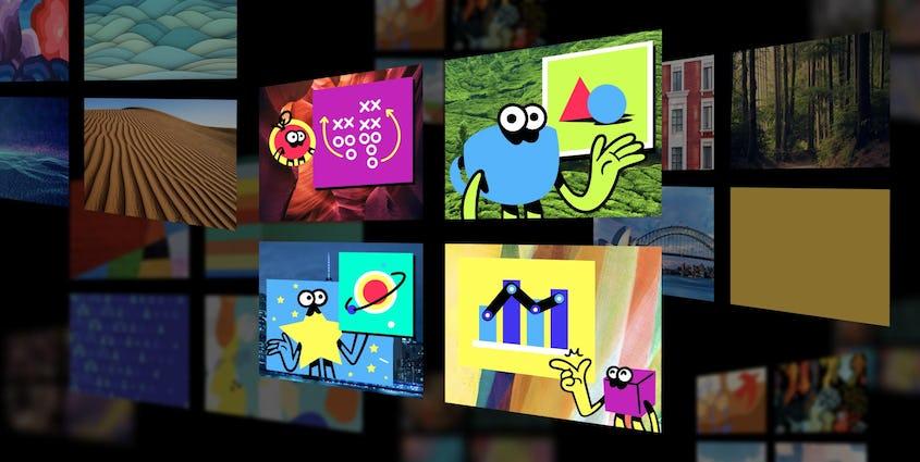 Windows と 4 つの mmhmm スクリーンのイラスト