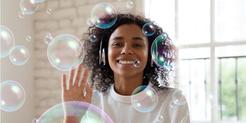 woman waving behind animated bubbles