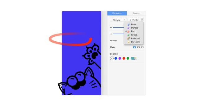 猫が mmhmm アプリ上で赤いレーザーを追っているイラスト