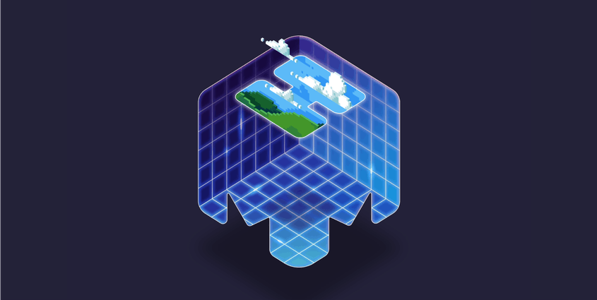 mmhmm logo with grid and video game landscape peeking up from the H
