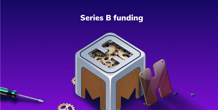 mmhmm logo with cogs inside, H pried off the top, against purple background with words
