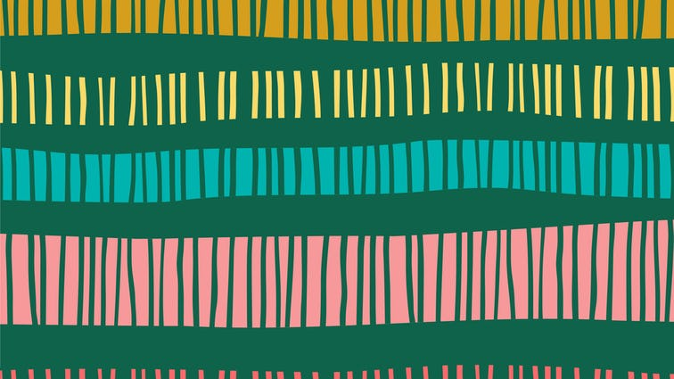 Illustration of green with pink, blue, yellow stripes across