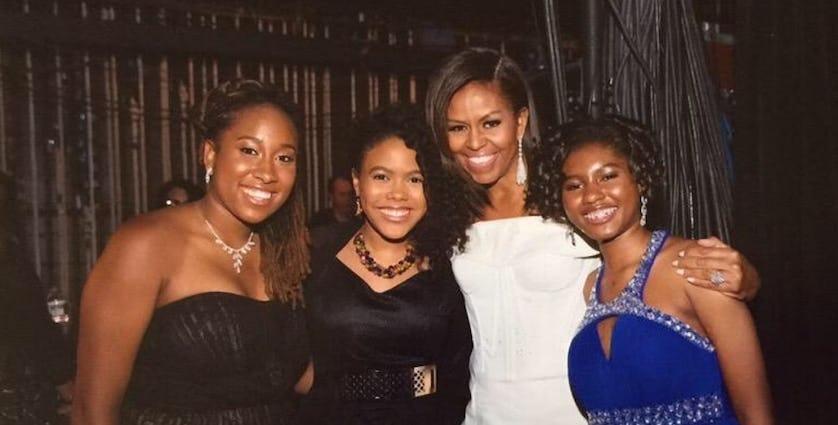 Kaya Thomas poses with Michelle Obama