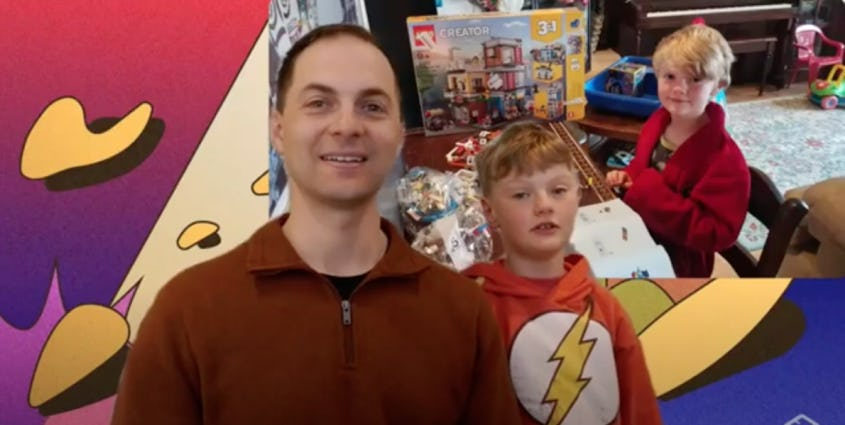 Adult man with boy and a picture of boy in the background against a pop art virtual background
