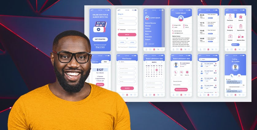 A man standing in front of mobile screenshots