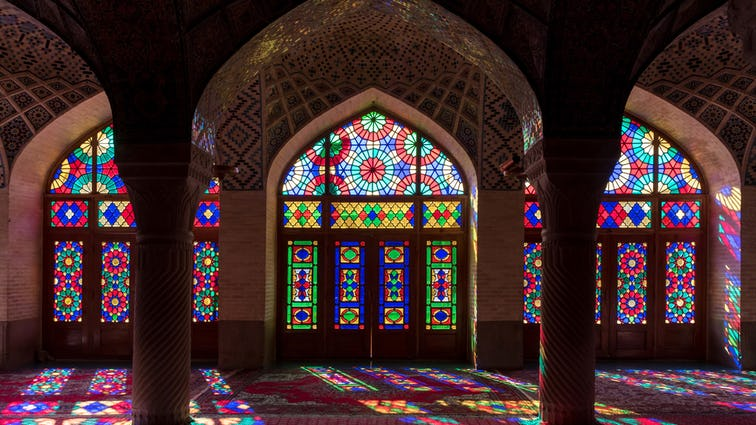 Interior stained glass windows in the Pink Mosque