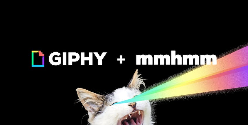 Cat with rainbow laser beams coming from eyes, text says GIPHY + mmhmm