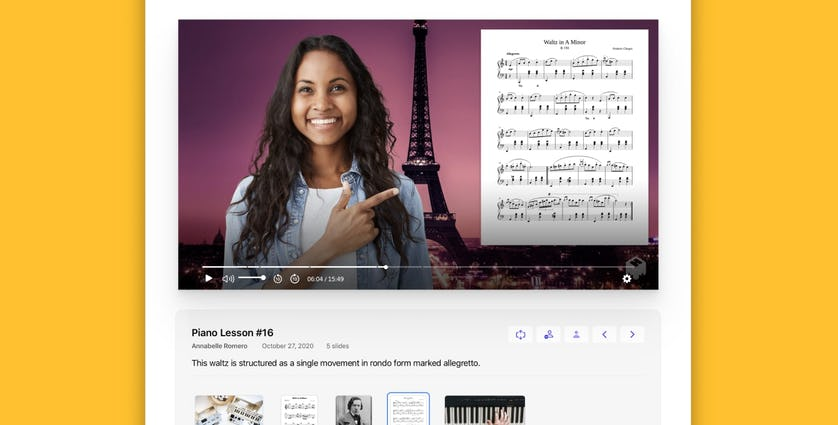 Screenshot of a woman doing a lesson with sheet music