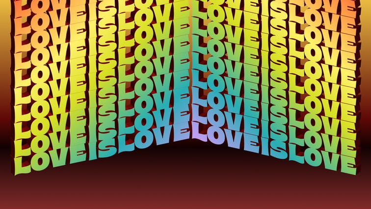 Illustration that says Love is Love in rainbow colors