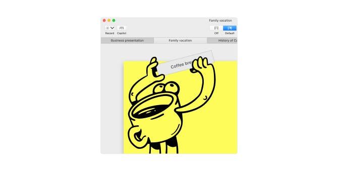 mmhmm ボットが「コーヒーブレイク」のプレゼンテーションタブを追加しているイラスト