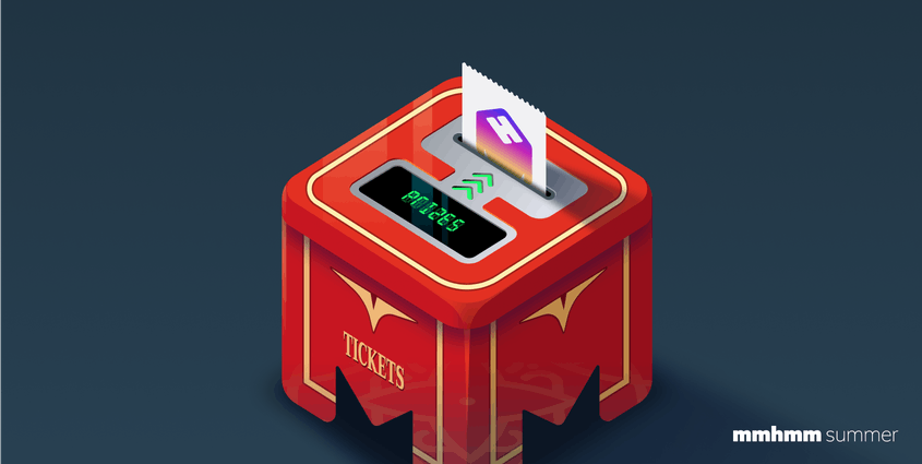 Illustration of a prize ticket coming out of a red mmhmm logo