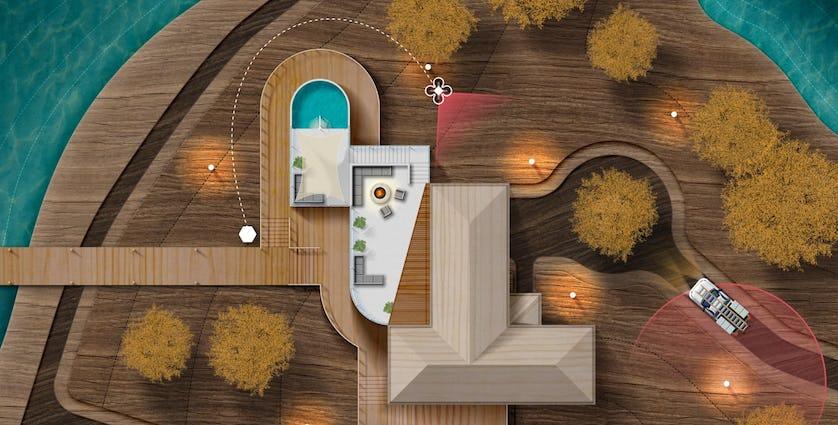 Sunflowers、bee、beehive どのように家の周りに配置されるかを示したイラスト