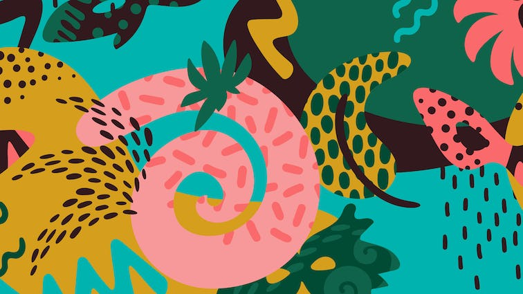 Illustration with lines, spots, tropical colors