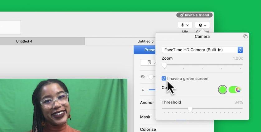 Screenshot of camera settings for someone using a green screen
