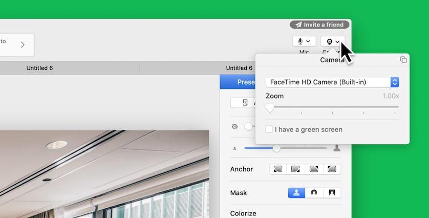 mmhmm screenshot of Camera settings for someone not using a green screen