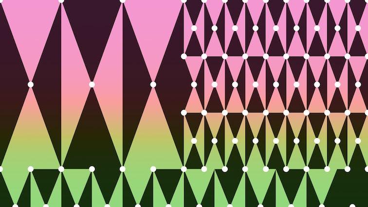 Pink, yellow, green pattern with harlequin diamonds.