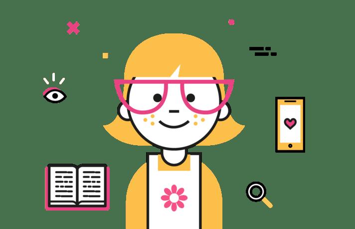 Personnage MNT &VOUS, petite fille avec des lunettes