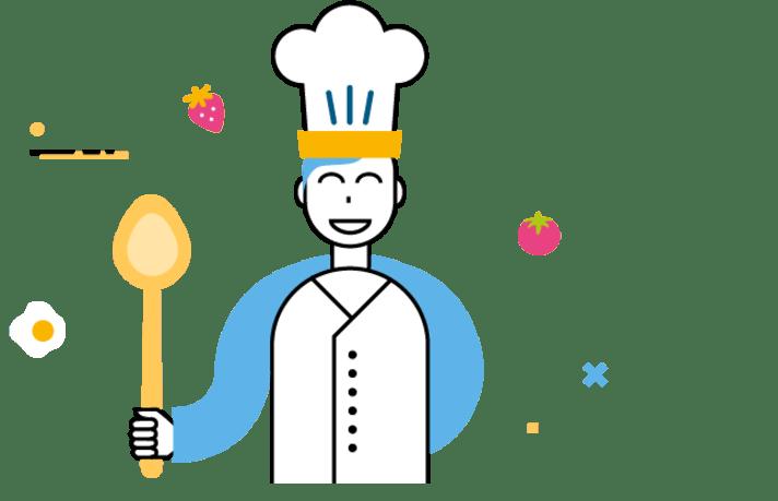 Un personnage MNT & VOUS en tenue de cuisiner