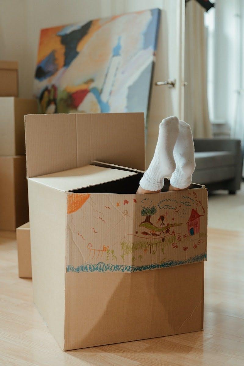Et barn gemmer sig i en papkasse