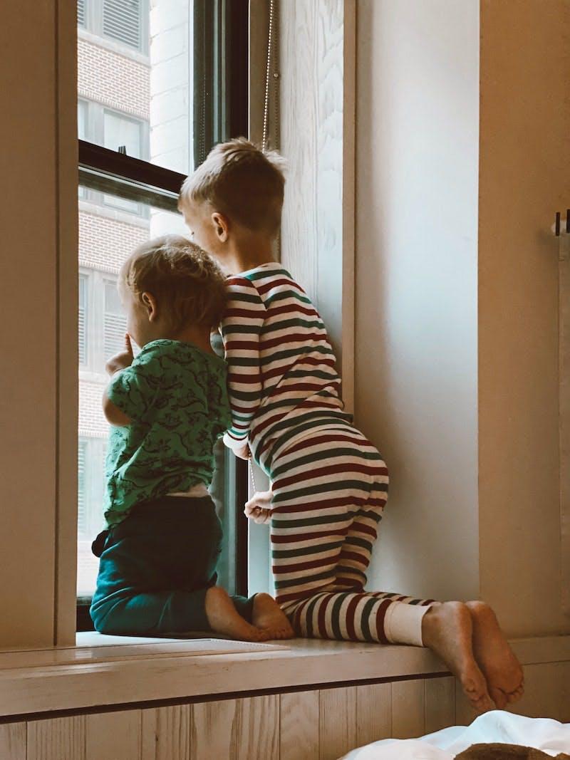 2 børn kigger ud af vinduet