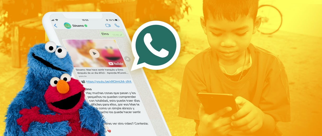 a kid with a phone in the background, a phone showing the Sesame whatsapp experience over it and Elmo and the cookie monster huging in the top