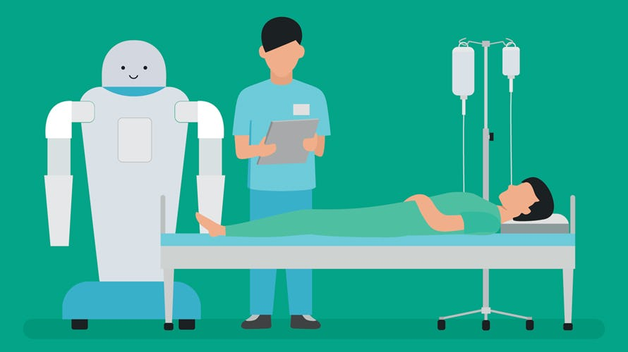 a cartoon of a patient lying on a bed, a doctor and a robot standing next to him