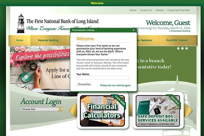 a screenshot of the national bank of Long Island with a welcome message asking for the guest name so they can personalize the experience