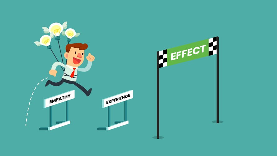 a cartoon of a man jumping over empathy and experience to get to the finish line called effect