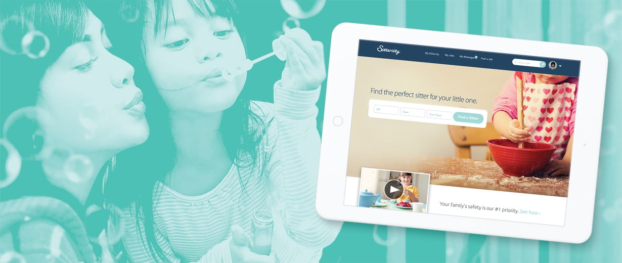 a mother with her daughter in the background and the Sittercity site on a tablet at the front