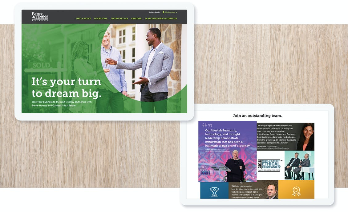 better homes and gardens site screens on two tablets
