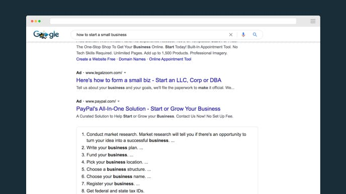 How to start a small business search in Google