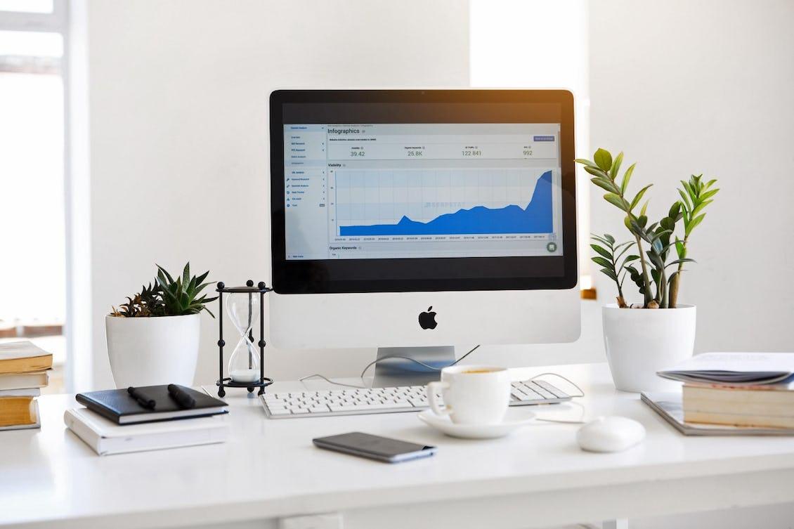 Analytics view on a desktop computer