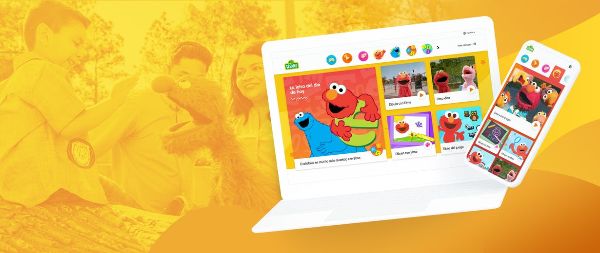 a yellow background with kids palying and the Sesame site on a computer and a phone at the front
