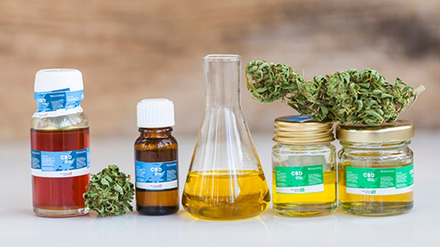 bottles and jars of Cannabis oil
