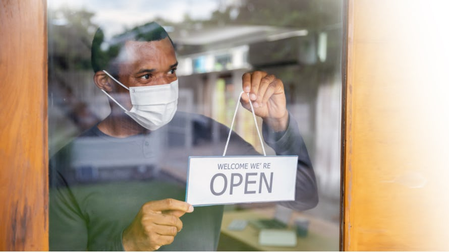 Man opening coffee shop after quarantine