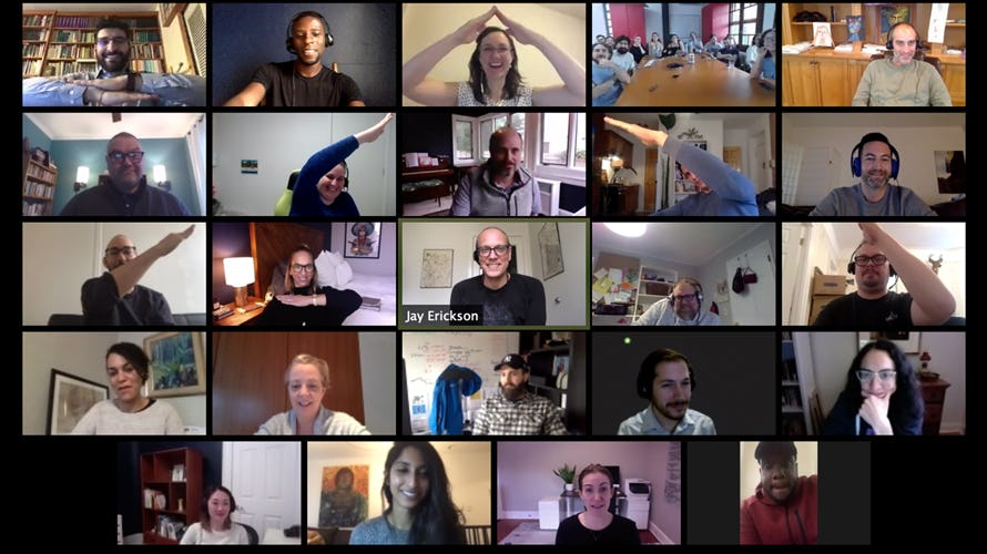 The Modus team in a zoom meeting