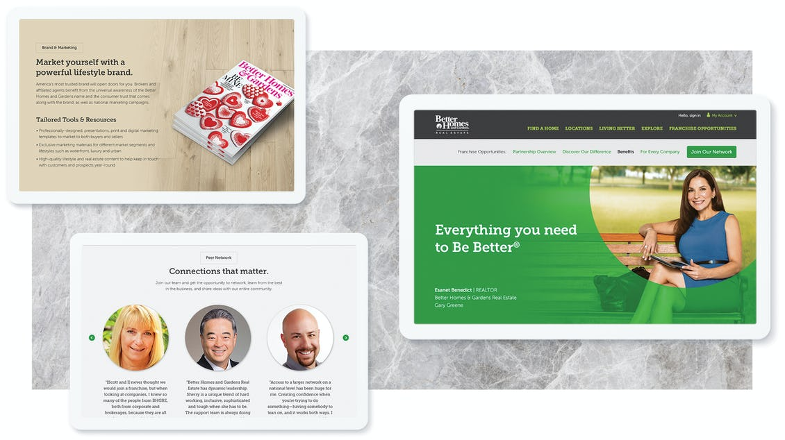 Better Homes and Gardens benefits site screens on three tablets