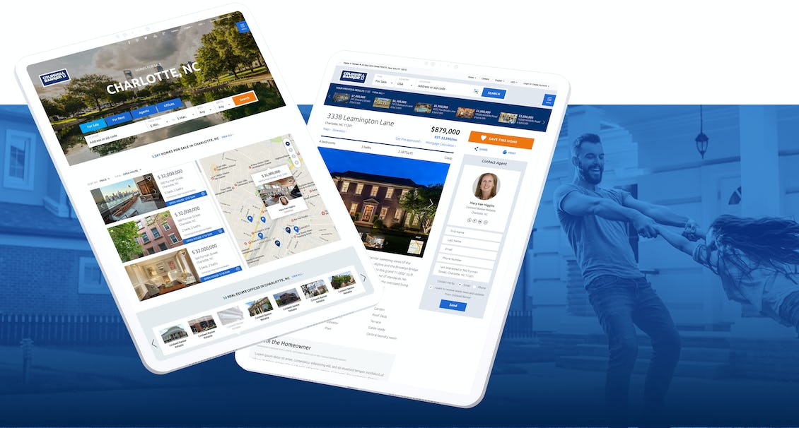 a man playing with his daughter in the background and the Coldwell Banker app at the front