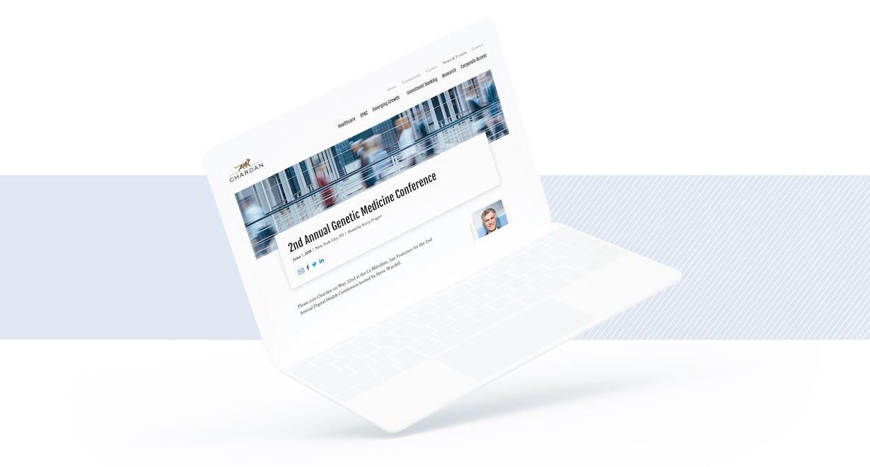 Chardan site on a laptop