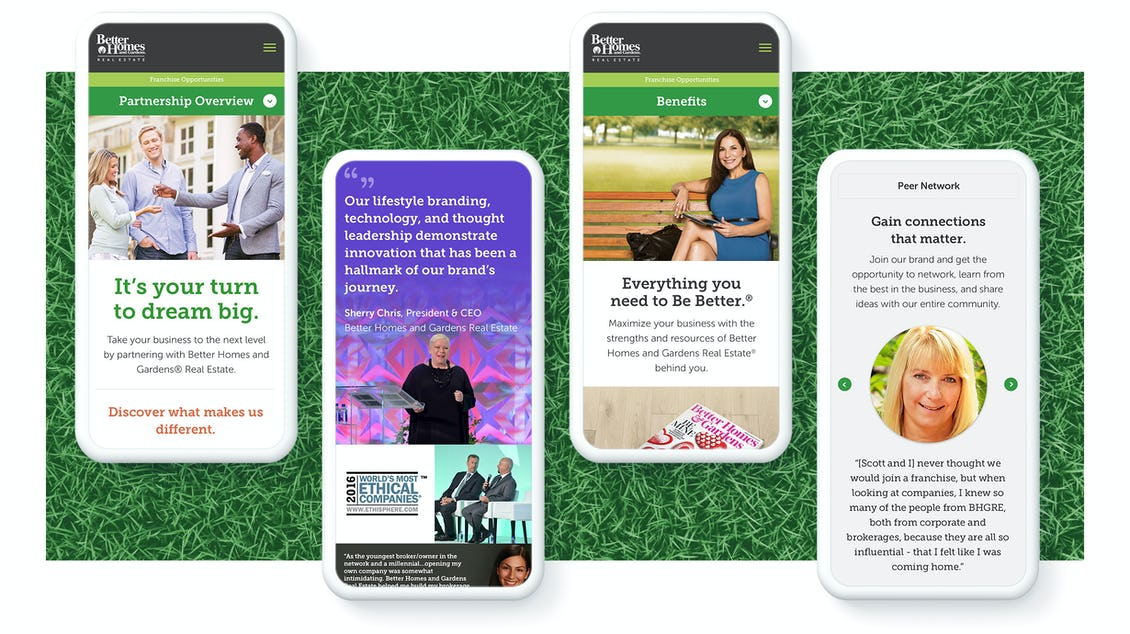 Better Homes and Gardens site screens on four phones