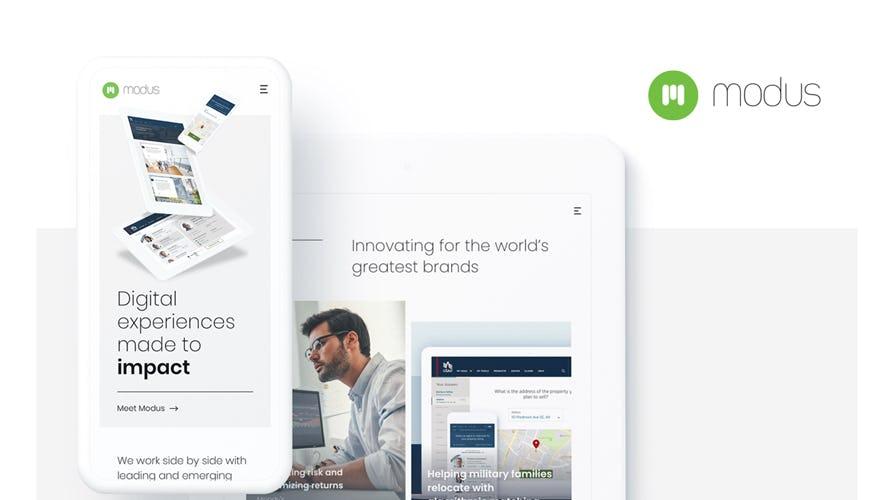 A screenshot of the Modus Website