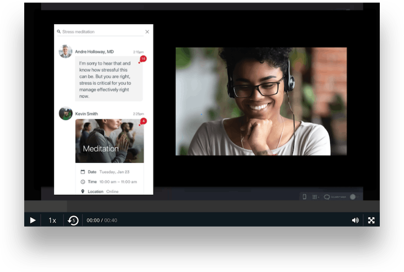 woman smiling during human-centered digital experience