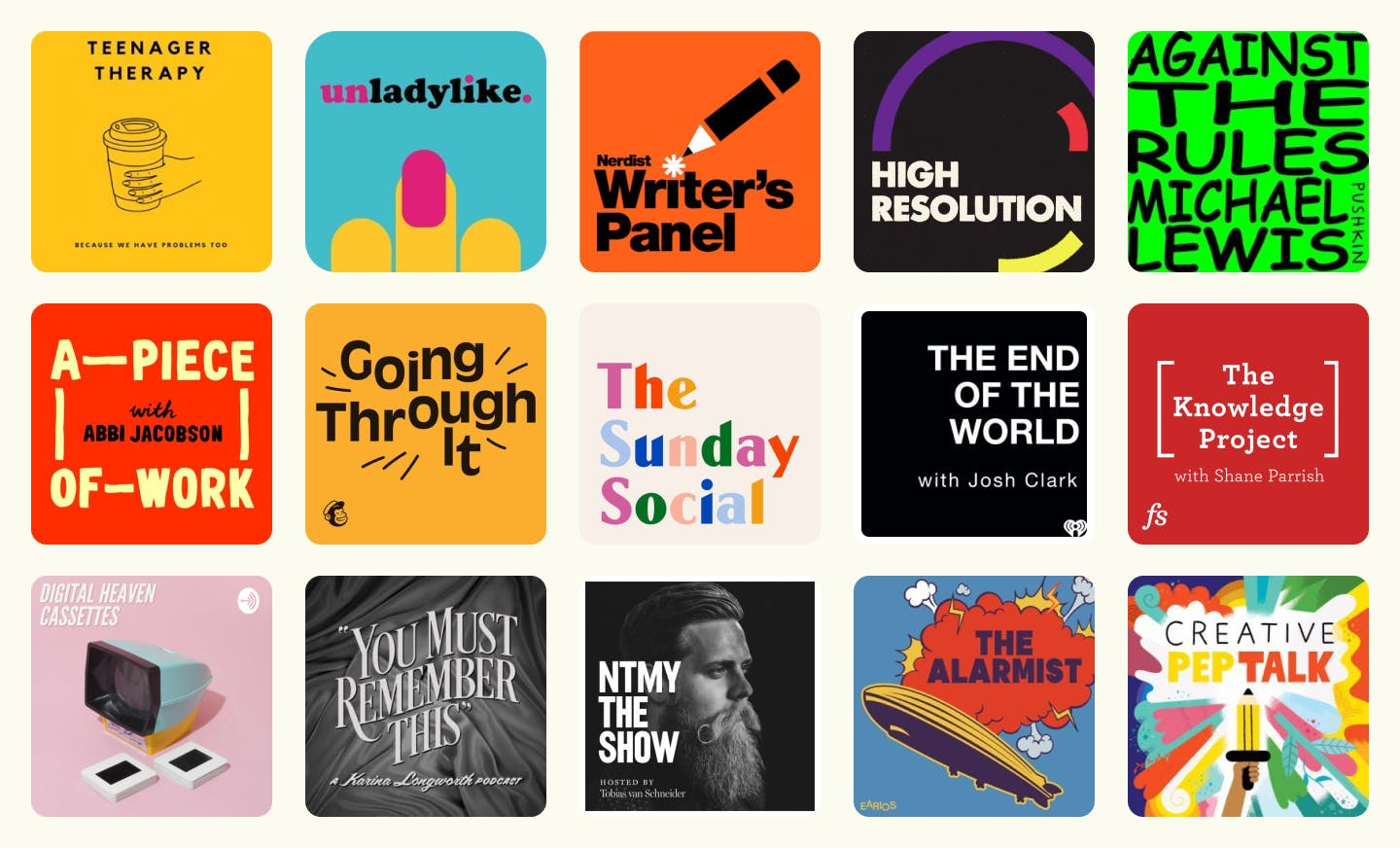 A grid view of 15 different podcast covers arranged in three rows. All examples include the podcast title.