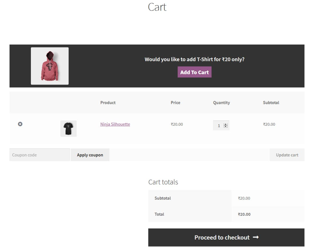 Screenshot of WooCommerce cart upsell feature