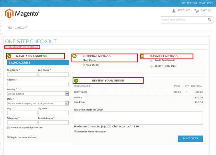 Screenshot of Magento 2 one step checkout