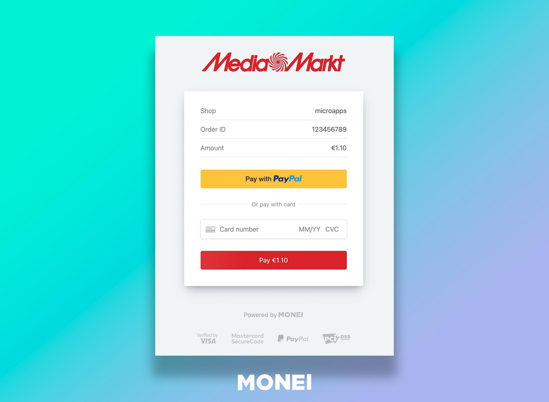 MONEI PayPal checkout button