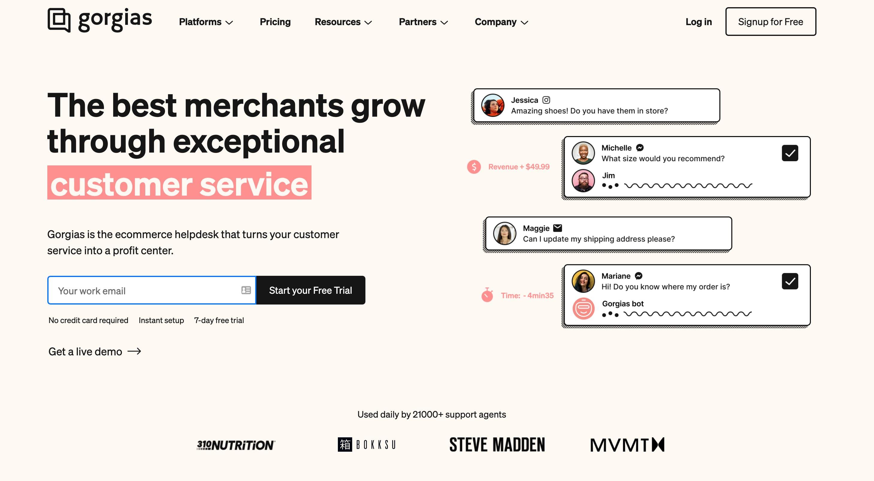 Gorgias customer service homepage