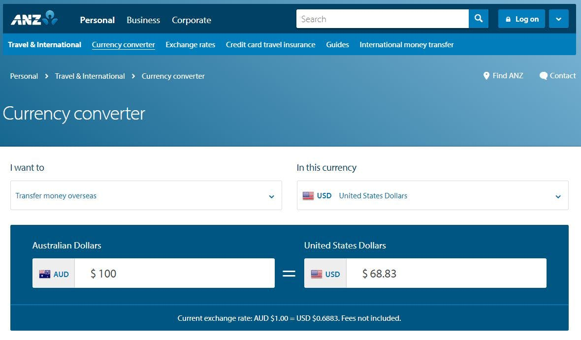 anz forex page