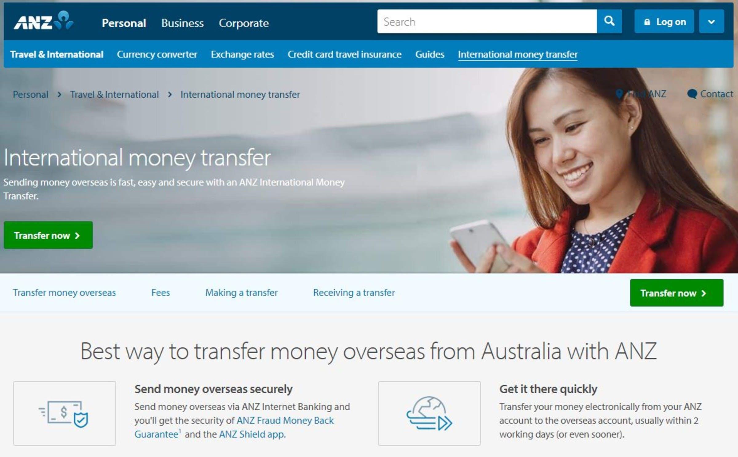 anz international money transfer exchange rate