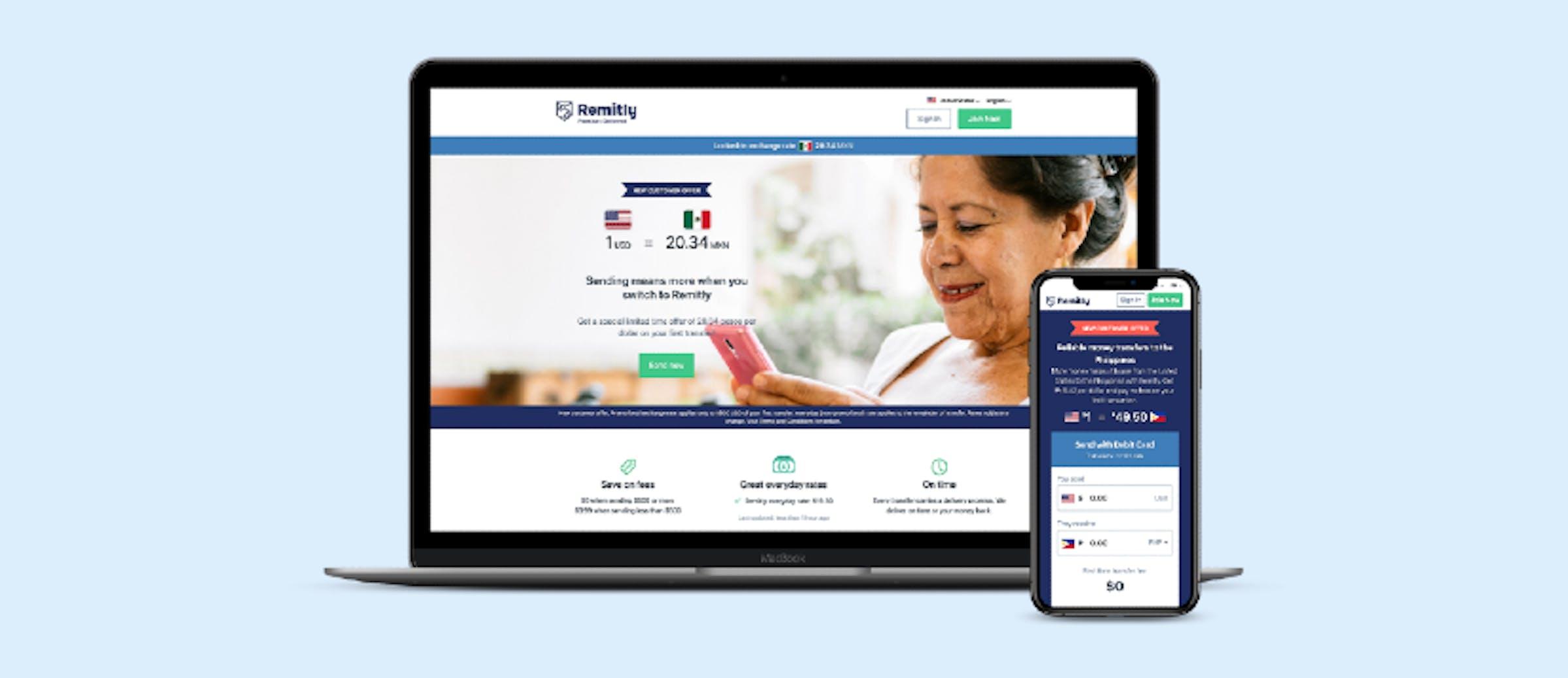Remitly's mobile and desktop websites